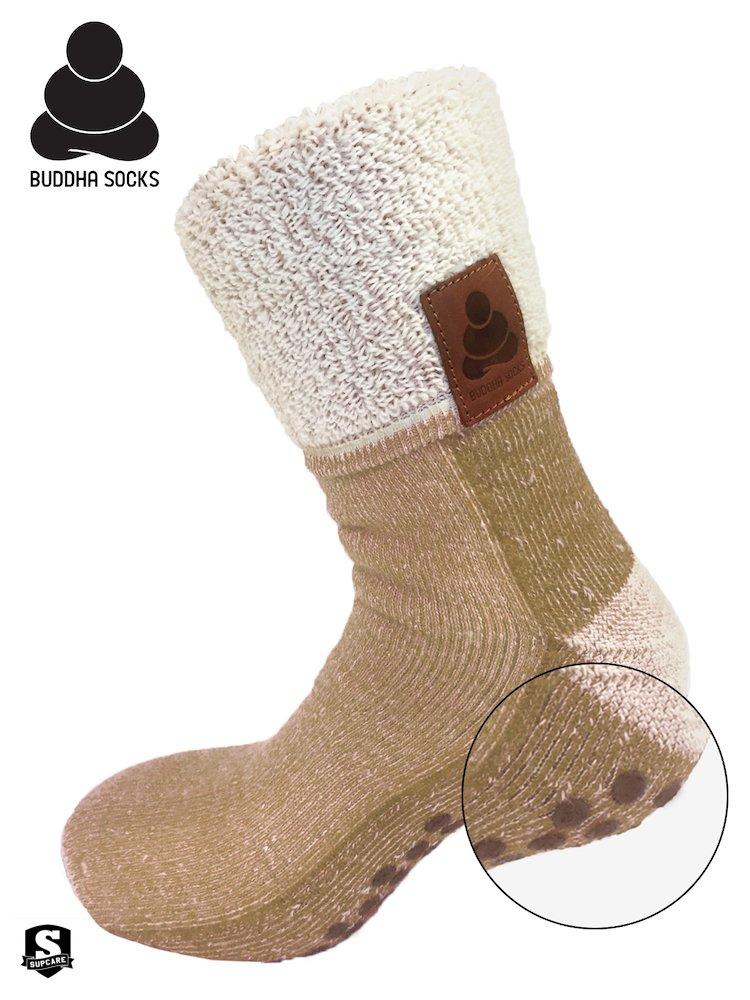 Buddha Socks, antihalksocka i ull, beige