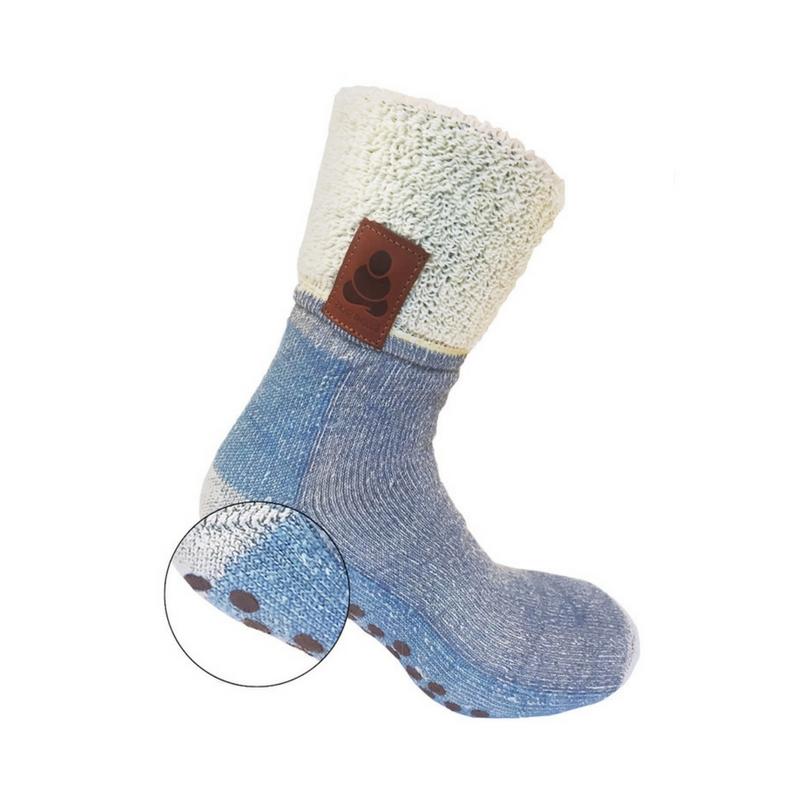 Buddha Socks, antihalksocka i ull, blå