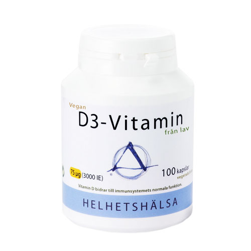 D3-vitamin Vegan 75 mcg, 3000 IE, 100 kapslar